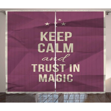 Keep Calm Curtains 2 Panels Set  Keep Calm And Trust In Magic Quote On Purple Crumpled Paper Image With Frame  Window Drapes For Living Room Bedroom  108W X 63L Inches  Beige Plum  By Ambesonne