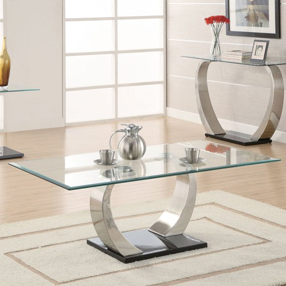 Glass Coffee Tables Walmart: Coaster Furniture Modern Glass Top Coffee Table