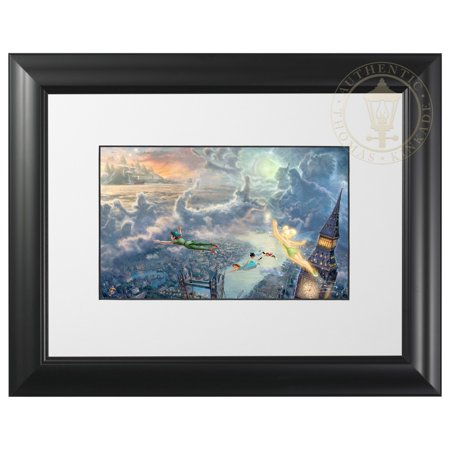 Thomas Kinkade Tinker Bell and Peter Pan Fly to Neverland - Matted Print (Satin Black Frame) (Tinkerbell And Peter Pan)