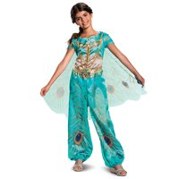 Disguise Disney Aladdin Live Action Girls Classic Teal Jasmine Halloween Costume