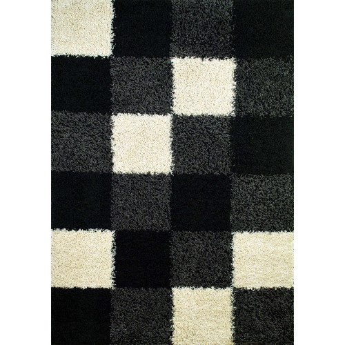 Concord Global Imports Shaggy Blocks Black Area Rug