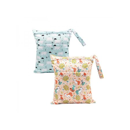 Baby Wet Bag - VICOODA 2PCS Infant Baby Diaper Bag Waterproof Washable Resuable Nappy Bag Wet Dry Baby Diaper Pouch with 2 Zippered Pockets for Traveling