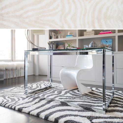 Hand-Tufted Zarah Zebra Microfiber Shag Rug (7'9 x 9'9) Ivory/ Cream (7'9 x 9'9)