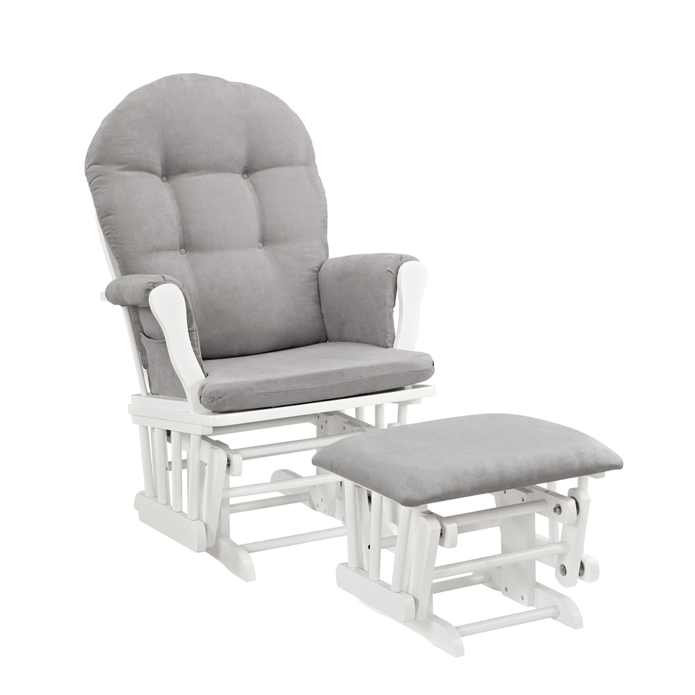 Angel Line Windsor Glider And Ottoman White Finish Gray Cushions