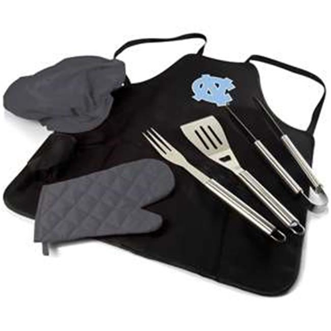 University of North Carolina Tar Heels Digital Print BBQ Apron Grill Tool Set Tote Pro Bag, Black