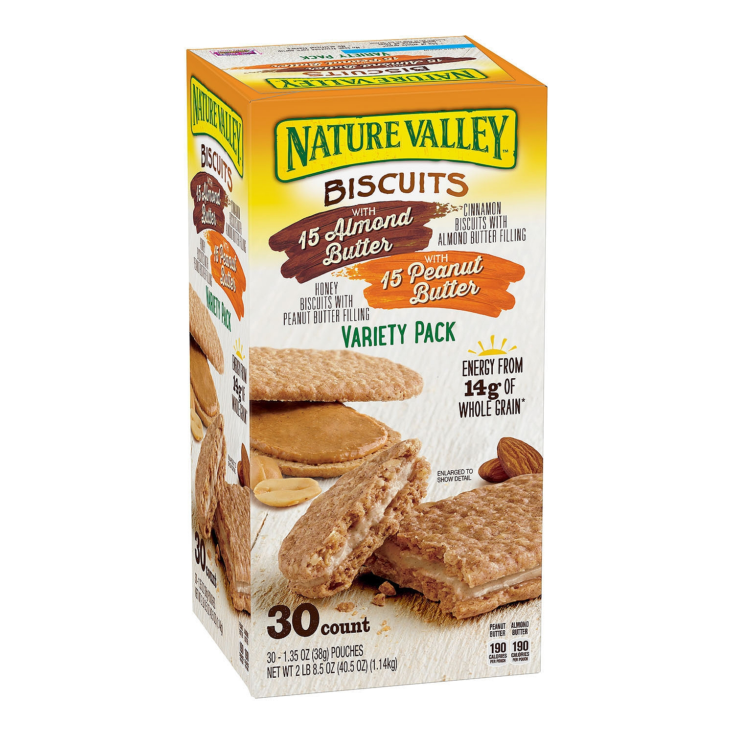 Nature Valley Biscuit Sandwich Variety, Almond Butter & Peanut Butter, 30 Count