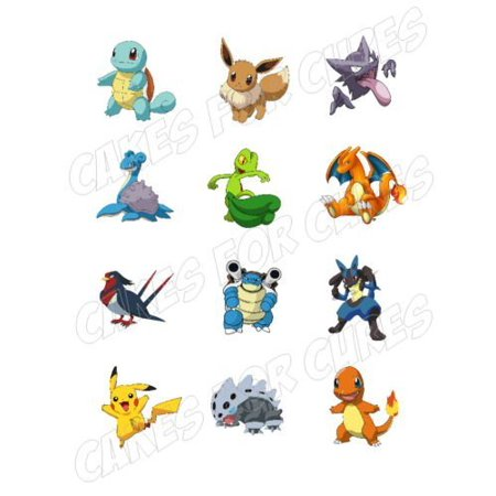 Pokemon Characters Edible Frosting Image cupcake toppers 12 per sheet