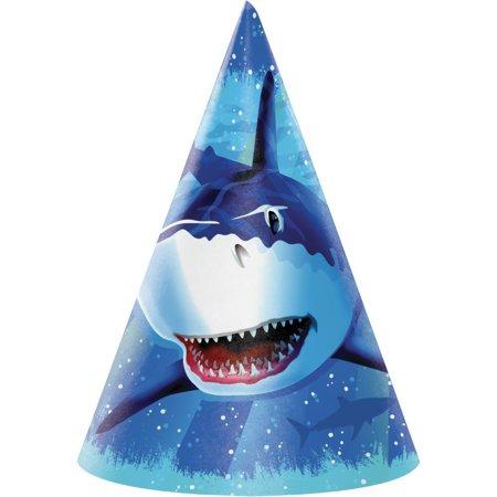 Creative Converting Shark Splash Party Hats, 8 ct