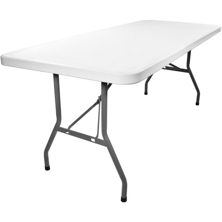 Advantage 8 Ft Rectangular White Plastic Folding Tables 5 Pack
