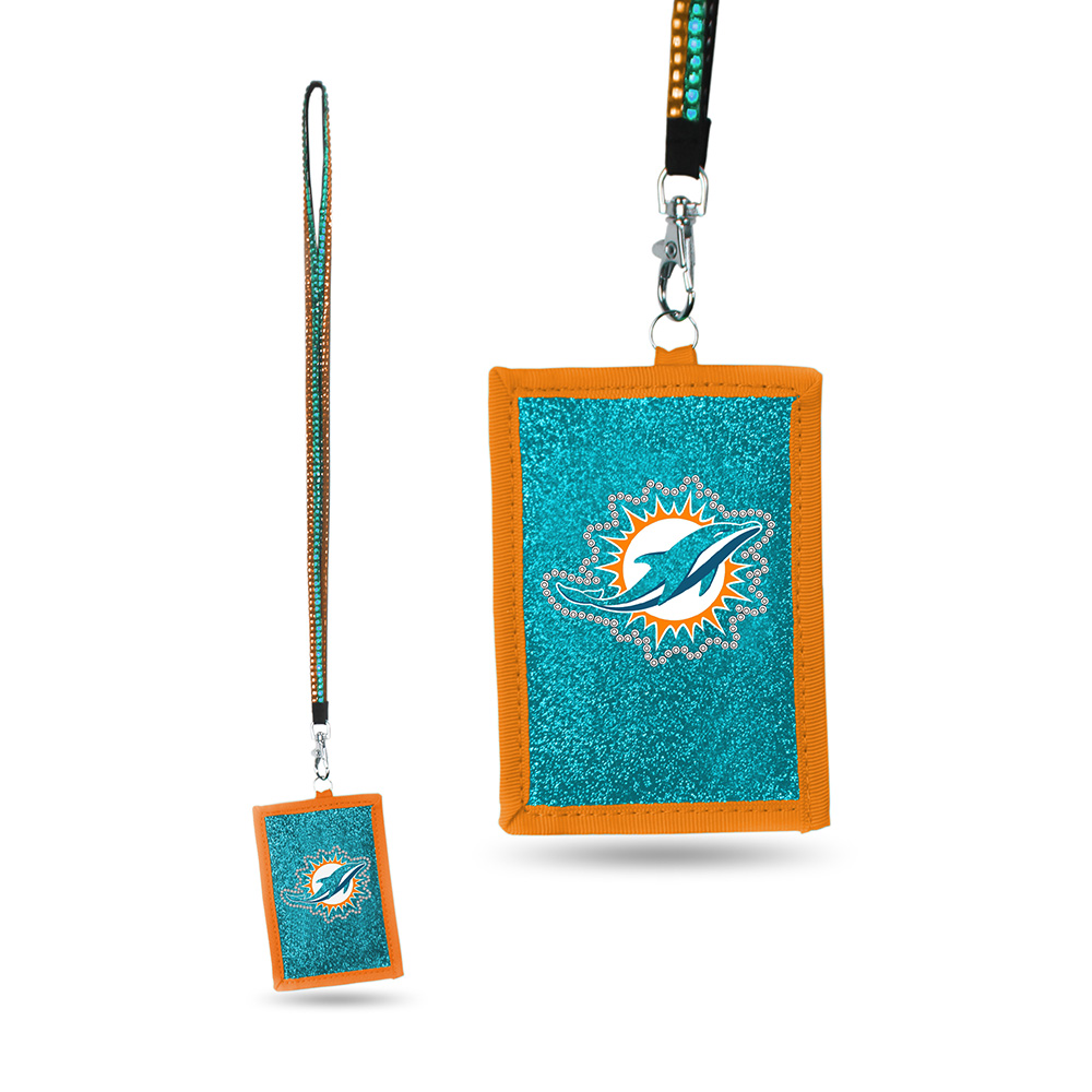 Miami Dolphins NFL Lanyard with Nylon Wallet