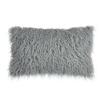 Better Homes and Gardens Mongolian Faux Fur Oblong Pillow, 12 x 21, Silver