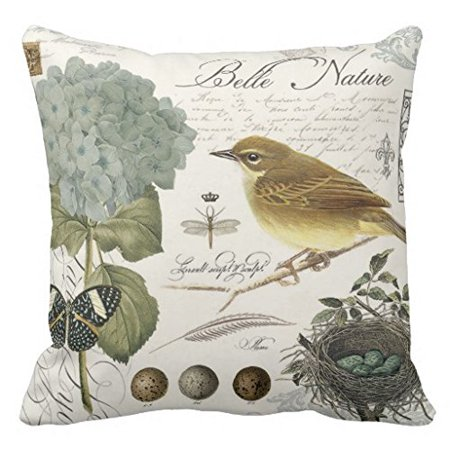 Tayyakoushi Pillow Cover for Sofa Vintage French Birds and Nest Accent Pillows Decorative Zippered Pillow Sham 18x18