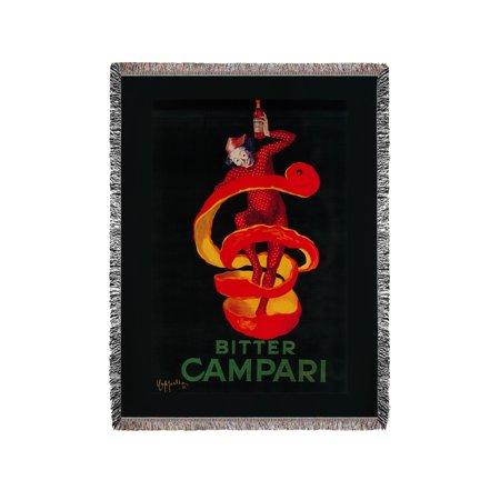 Bitter Campari   Vintage Advertisement  60X80 Woven Chenille Yarn Blanket