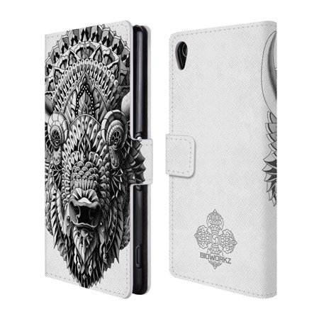 OFFICIAL BIOWORKZ ANIMAL HEAD LEATHER BOOK WALLET CASE COVER FOR SONY PHONES 2