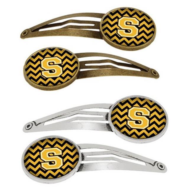 Letter S Chevron Black & Gold Barrettes Hair Clips, Set of 4