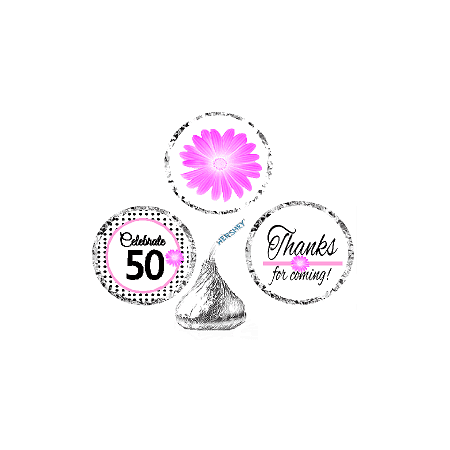 CakeSupplyShop Item#050BPH 50th Birthday / AnniversaryPink Black Polka Dot Party Favor Hershey Kisses Candy Stickers / Labels -216ct (Black Kisses)