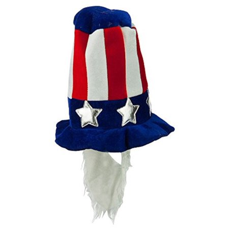 Uncle Sam Velvet Hat with White Beard Costume Blue 4th of July Patriotic (4th Of July Costumes For Women)