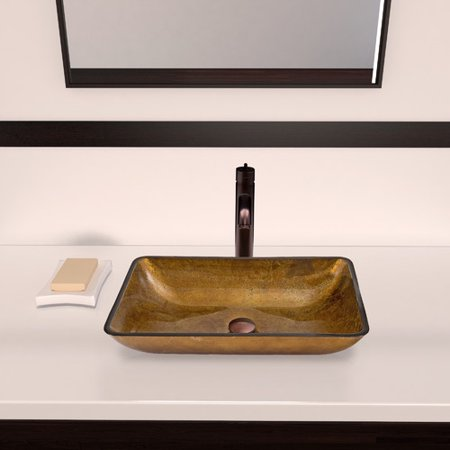 VIGO Copper Glass Rectangular Vessel Bathroom Sink Copperhaus Rectangular Copper Sink