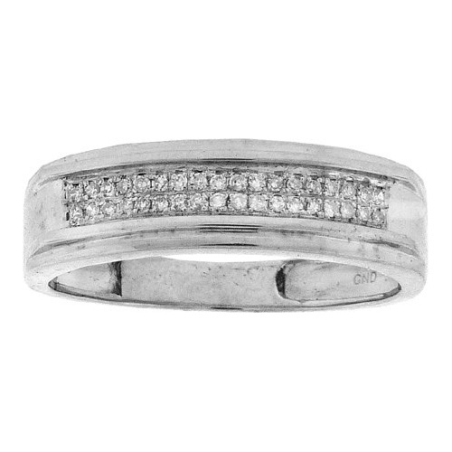 Sterling Silver 0.12ctw Shiny Diamond Micro Pave Step Edge Mens Band Ring