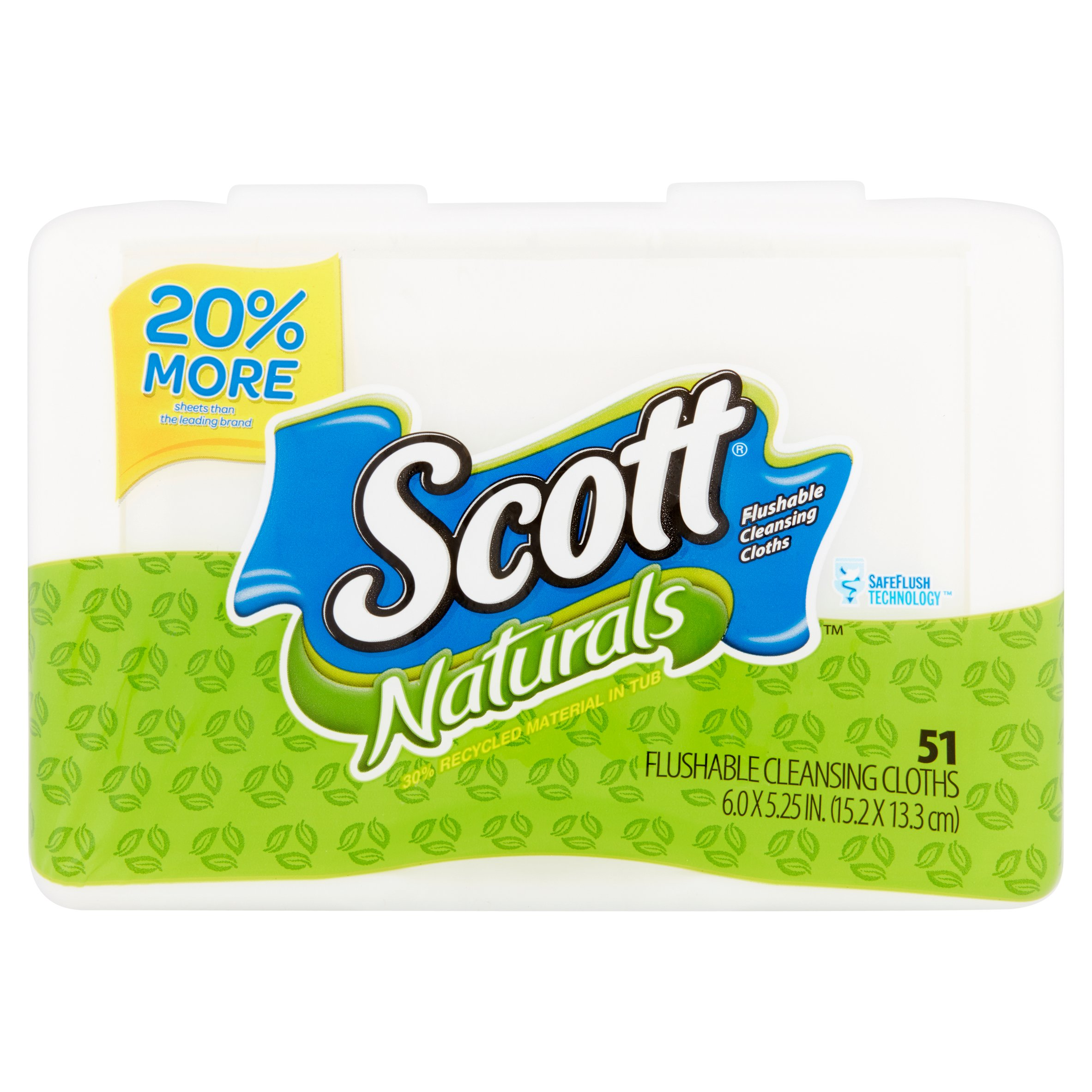 Scott Naturals Flushable Cleansing Cloths Tub, Scented, 51 wipes