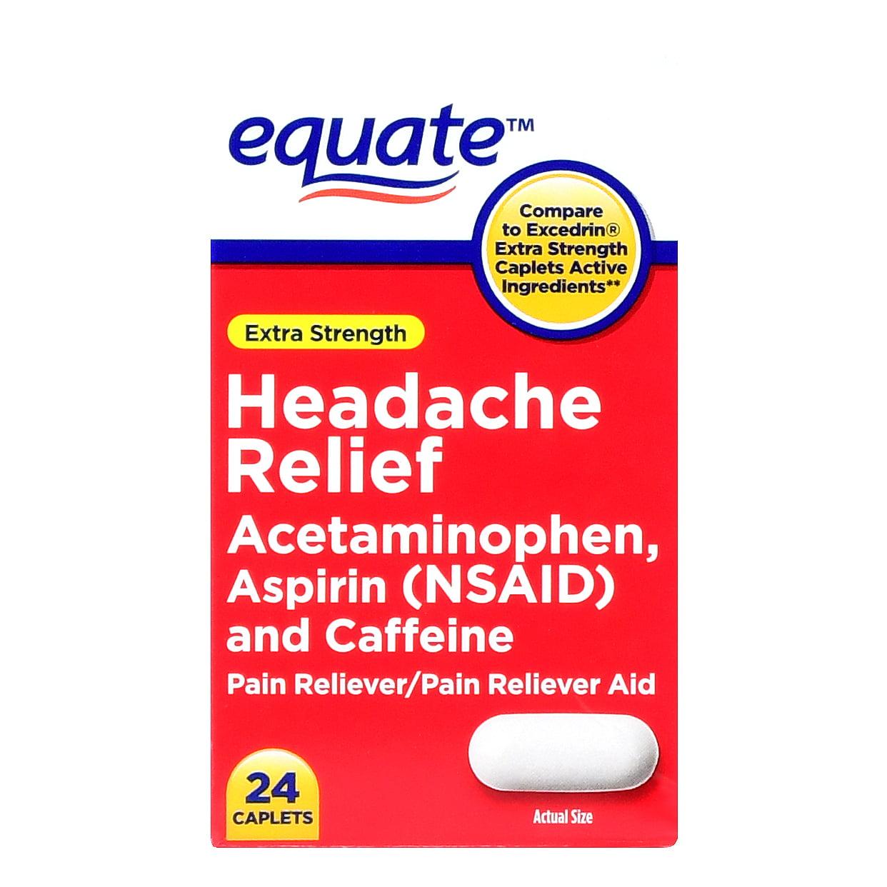 (4 Pack) Equate Extra Strength Headache Relief, 24 Ct
