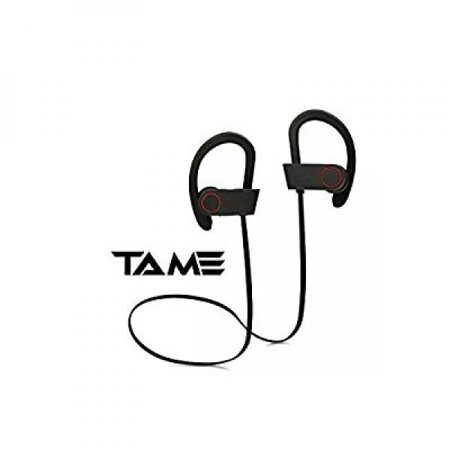 Tame Bluetooth Headphones, Wireless Sport Sweat-Proof Earbuds with Noise-Cancelling and High-Quality Bass Stereo Technology, In-Ear and Hands-Free, Equipped with Built-In Microphone and Bluetooth