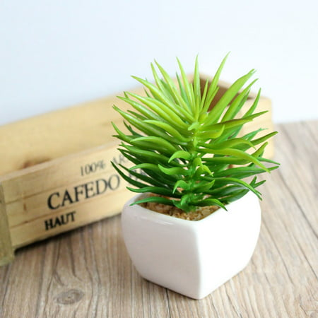 Green Artificial Plant Simulation Fake Potted Bonsai Tree in Pots Small Artificial Plant and Trees Garden Home Office Desk Decorations for Indoor Outdoor Decor