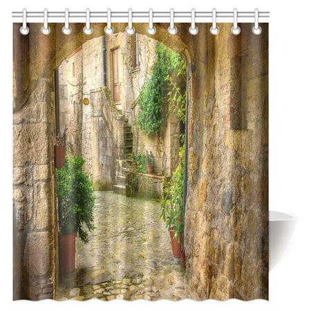 MYPOP Travel Italy Scenery Shower Curtain Narrow Street Of Medieval Tuff City Sorano With Arch