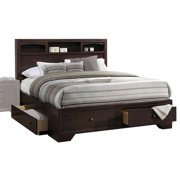 Bowery Hill Modern Style King Size Bed with Storage, Headboard Bookcase in Espresso