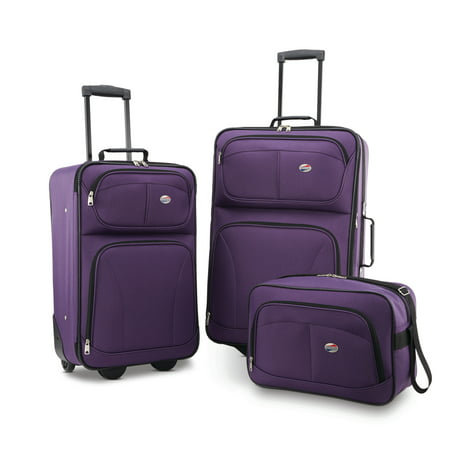 American Tourister Brewster 3 Piece Softside Luggage (Best 2 Piece Carry On Luggage Sets)