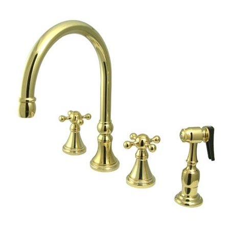Elements of Design Deck Mount Double Handle Widespread Kitchen Faucet with Knight Cross Handle