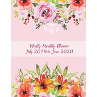 Weekly Monthly Planner July 2019 to June 2020 : Pink Book Floral Design, Calendar Book July 2019-June 2020 Weekly/Monthly/Yearly Calendar Journal, Large 8.5 X 11 365 Daily Journal Planner, 12 Months July-June Calendar, Agenda Planner, Calendar Schedule Organizer Journal Notebook