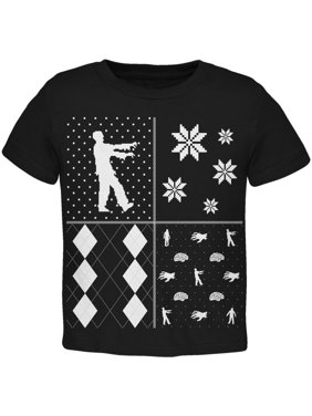 Zombies Festive Blocks Ugly Christmas Sweater Black Toddler T-Shirt - 3T
