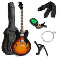 Best Choice Products All-Inclusive Semi-Hollow Body Electric Guitar Set w/ Dual Humbucker Pickups - Sunburst