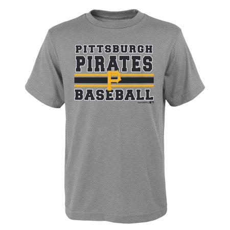 MLB Pittsburgh PIRATES TEE Short Sleeve Boys OPP 90% Cotton 10% Polyester Gray Team Tee 4-18