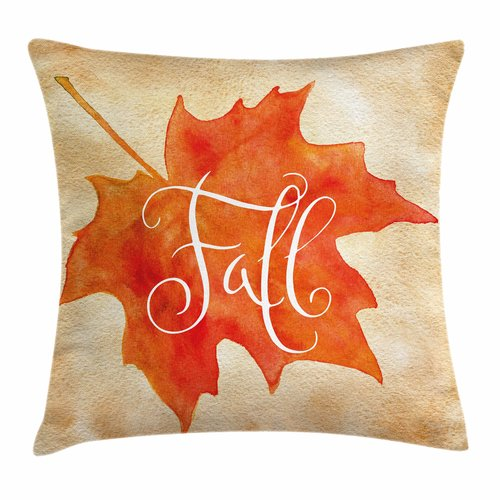 Ambesonne Fall Decor Artsy Maple Leaf Square Pillow Cover by Kozmos