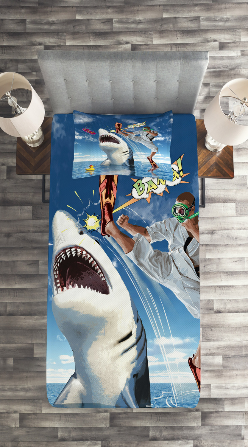 Sealife 10x12 FT Photo Backdrops,Unusual Marine Navy Life Animals Fish Sharks with Karate Kid and Comics Balloon Art Background for Party Home Decor Outdoorsy Theme Vinyl Shoot Props Multicolor
