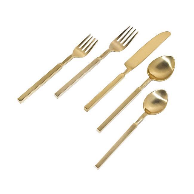 20-Piece Gold Square Handle Flatware Utensils Tableware Silverware, Service for 4 by Godinger Silver Art