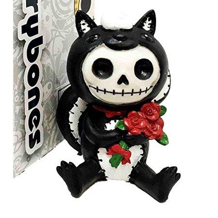 Furrybones Exclusive Adorable Valentine Skunk Carrying Red Roses Skeleton Monster Ornament Figurine - Skunk Skeleton
