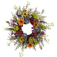 """Nearly Natural 24"""" Spring Garden Wreath with Twig Base"""