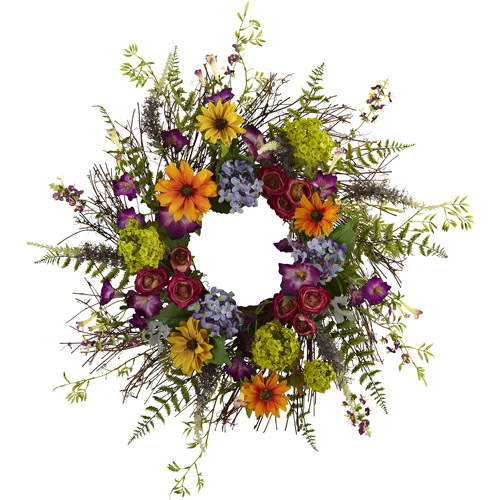 "Nearly Natural 24"" Spring Garden Wreath with Twig Base"