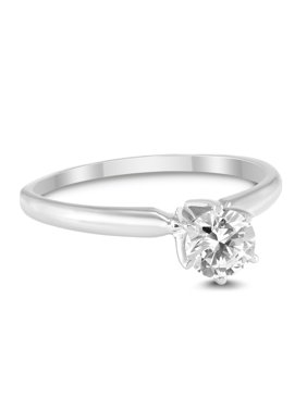 3/8 Carat Round Diamond Solitaire Ring in 14K White Gold (J-K-L Color, I2-I3 Clarity)