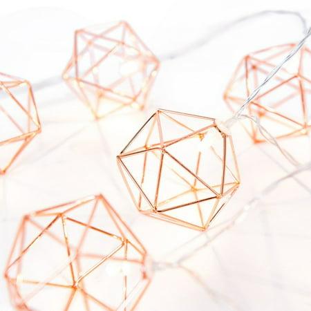 10 Light String Lights (OUMY 1.5M 10 Lights Geometric Rose Gold Light)
