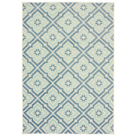 Diagonal Accent - Moretti Vail Area Rugs - 1801H Transitional Blue Diagonals Petals Diamond Spiked Rug
