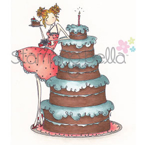 Stamping Bella Cling Rubber Stamp, Uptown Girl Bianca Loves Her Big Cake