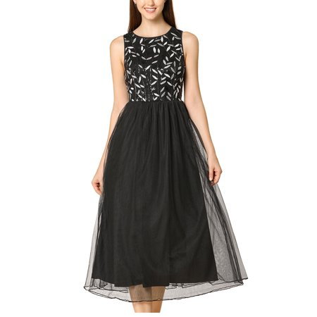 Allegra K Women's Sequin Sleeveless TuTu Tulle Midi Dress Black (Size L / (Cinq A Sept Evangeline Tulle Midi Dress)