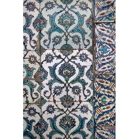 Turkish Pottery (Turkey, Istanbul, Topkapi Palace, Detail of Glazed Pottery Print Wall Art)