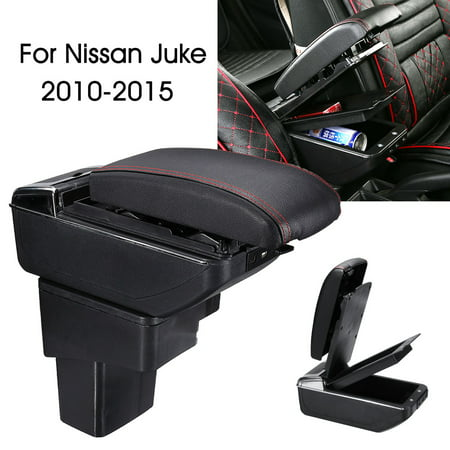 Auto Armrest Console Box Storage Box Car Handrails Central Armrest For Nissan Juke 2010-2015 Double Storage Space Adjustable Cup Holder ()