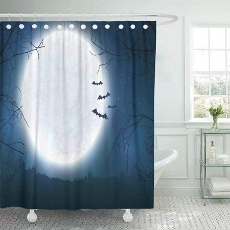 WOPOP Black Spooky Night with Full Moon Scary Trees and Bats Silhouettes Halloween with Copy Space Shower Curtain 66x72 inch (Scary Tree Silhouette Halloween)