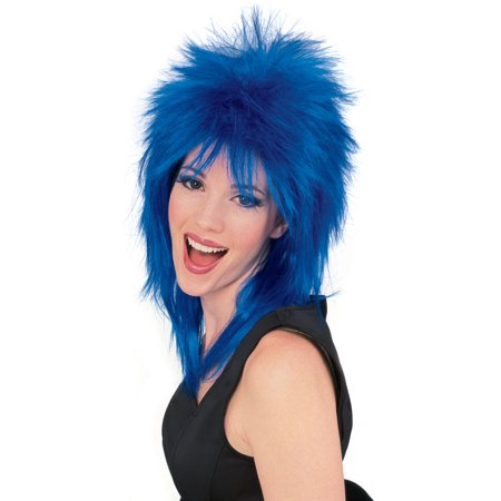 Super Star Punk Rock Rocker 80s Costume Wig Blue R50722/68 for $<!---->